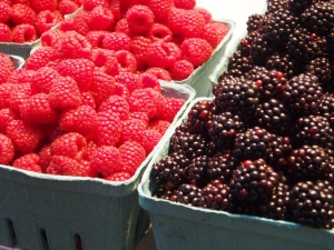 Beautiful summer berries at Granville Public Market in Vancouver
